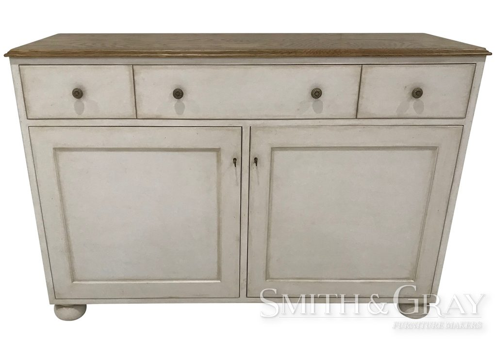 Custom made sideboard with aged drawers and doors
