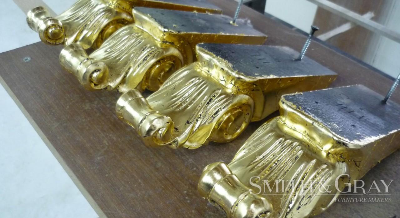 Custom gold leaf furniture gilding