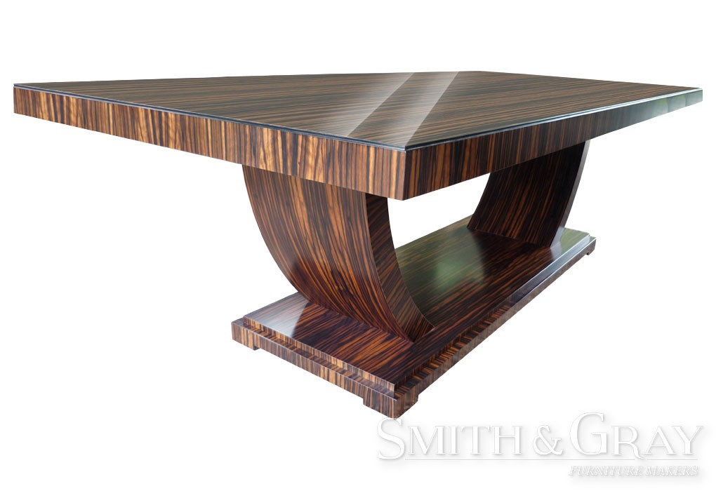 Art Deco Veneered Macassar Ebony Dining Table