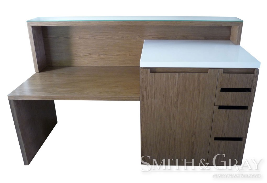 contemporary custom made office desk with finger groove