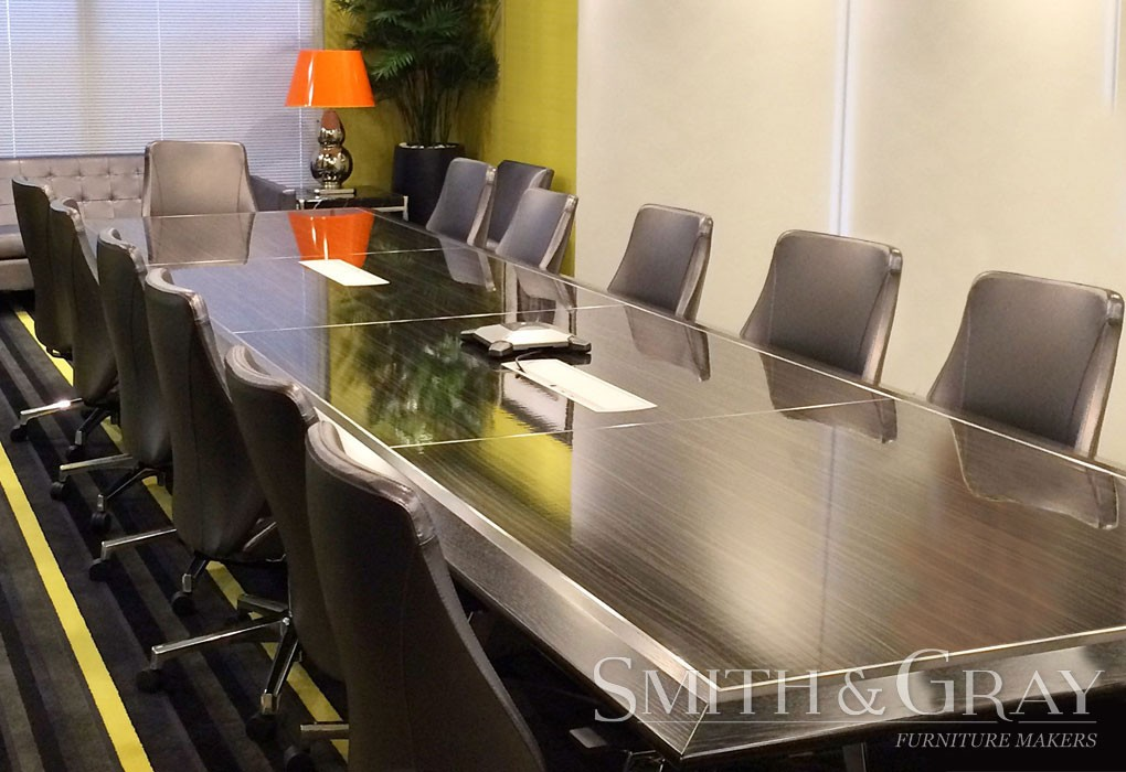 High gloss timber laminate American Oak timber boardroom table with bevelled edge
