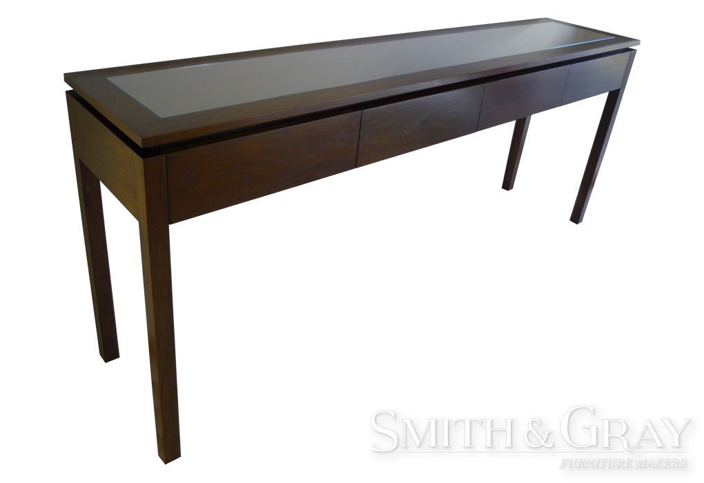 Delightful Long Hall Table With Glass Inlay And Push Open Drawers