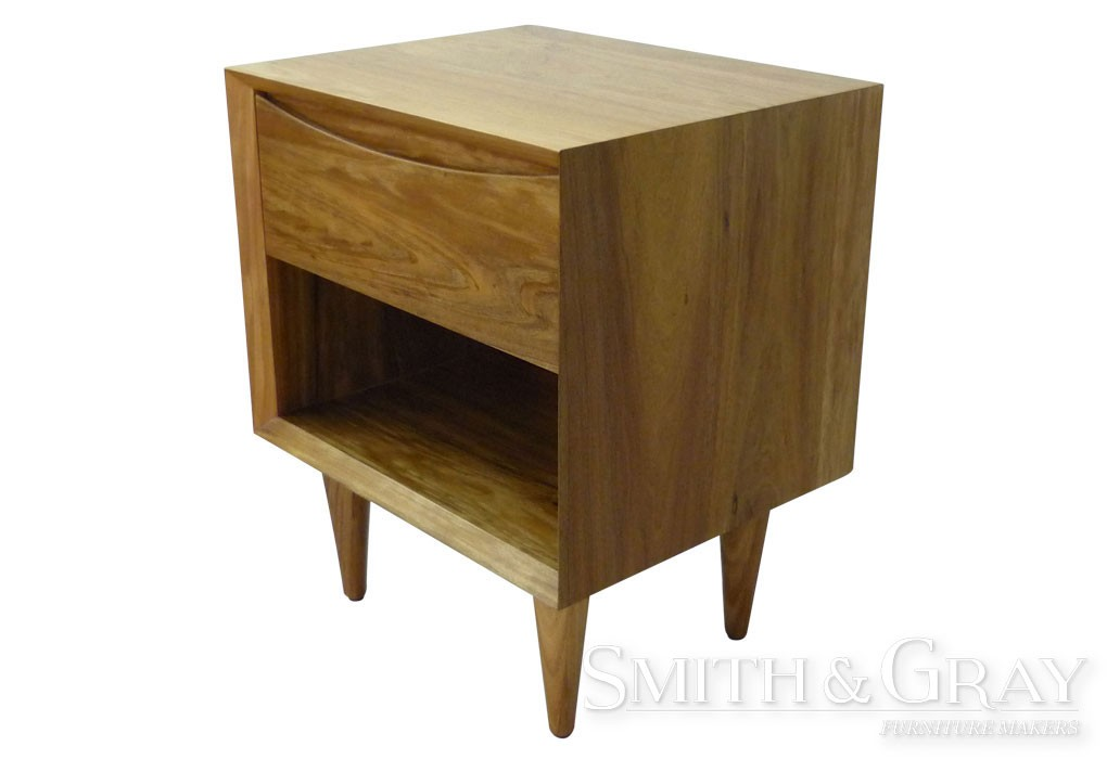 Modern danish bedside table solid Tas Blackwood with tapered round legs