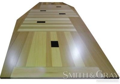 Modern patchwork boardroom table timber