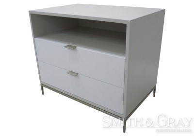 White bedside table 2 pak with feature steel base