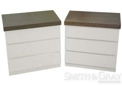 White gloss bedsides with timber top