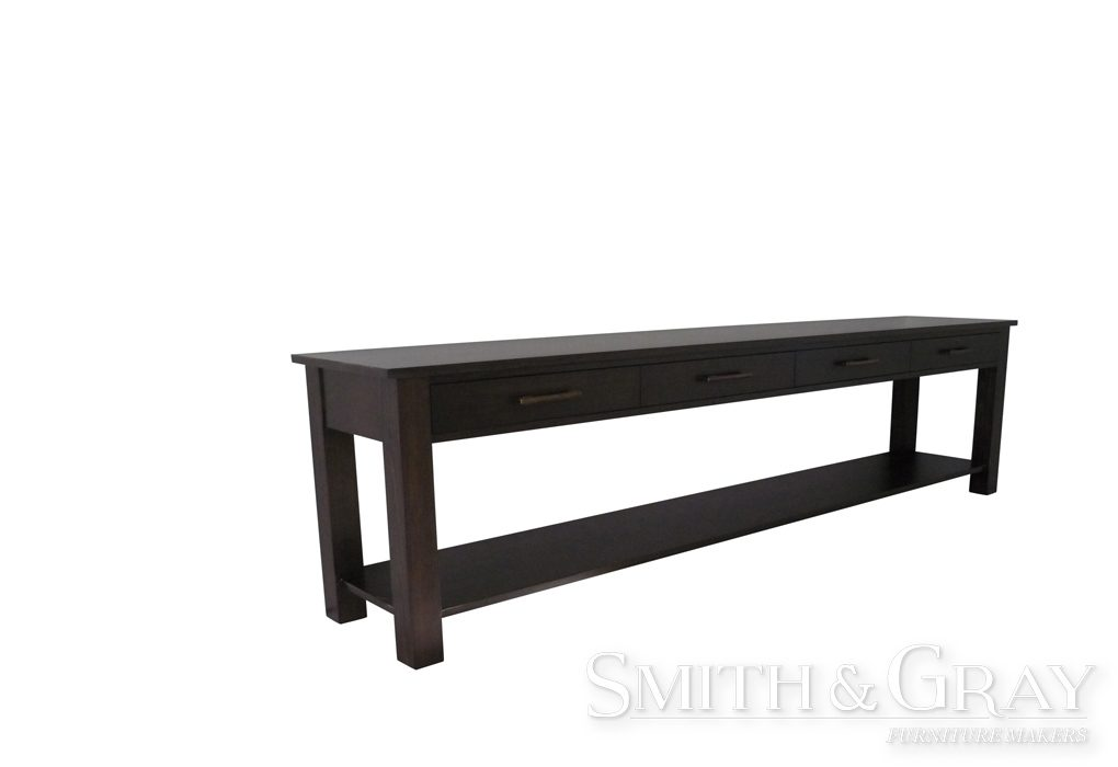 Long American Oak stained bespoke custom made Console Table with 4 drawers and a shelf.