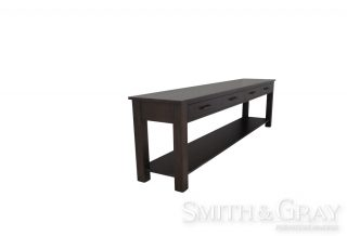 Long American Oak stained bespoke custom made Console Table with 4 drawers and a bottom shelf.